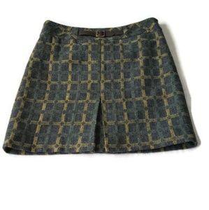 Loft Gray Wool Plaid A Line Skirt